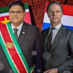 Minister-president Rutte ontvangt president Santokhi van Suriname